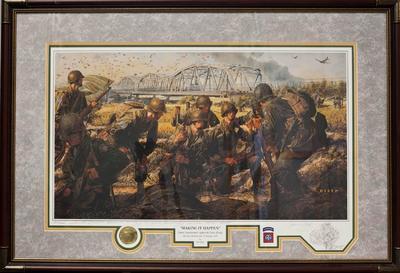 Op 17 september 1944 had de E Compagnie van het 504th Parachute Infantry Regiment van de 82nd Airborne Division de opdracht om ten zuiden van de Maas bij het Brabantse Velp af te springen en de brug bij Grave vanuit het zuiden aan te vallen. In één van de vliegtuigen zag luitenant John Thompson het dorp Velp onder zich toen hij moest springen. Hij besloot een paar seconden te wachten. Het resultaat van die beslissing was, dat Thompson en zijn vijftien mannen pal aan de zuidkant van de brug landden en direct de aanval konden inzetten en de brug innemen. De taak van een compagine van 120 man was door zestien man uitgevoerd. Het nummer van de lithografie is 202/650