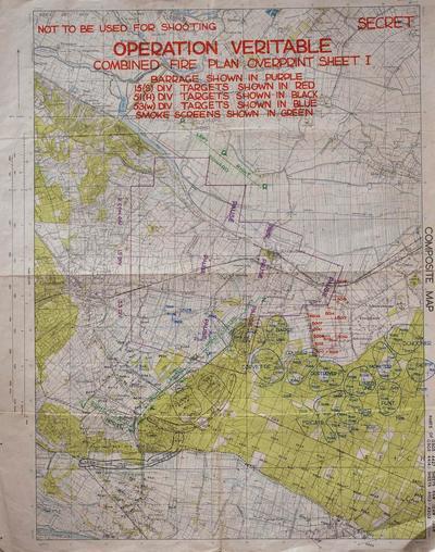 Als onderdeel van de voorbereidingen van het grote Brits/Canadese 'Rijnlandoffensief', werd een groot artilleriebombardement voorbereid. Op een frontlijn van twaalf kilometer stonden meer dan 1.000 kanonnen opgesteld. Op deze kaart is de voorbereiding gedetailleerd vastgelegd. In het paarse onregelmatige veelhoekige vak werd een rollende barrage afgevuurd. Verder zijn er blokkade-barrages en punt-barrages ingetekend.