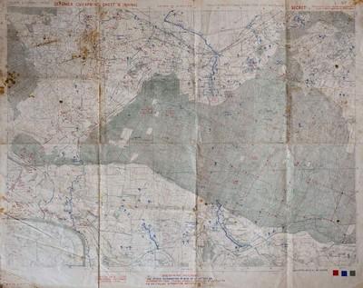 Nadat operatie Market Garden voorbij was, groeven beide partijen zich in. Op deze kaart uit begin oktober 1944 is te zien hoe de Duitsers begonnen waren met de aanleg van stellingen langs het Reichswald. De geallieerden hebben uitsluitend Duitse stellingen op deze kaarden aangebracht. Germany 1:25.000 Calcar sheet 4203, G.S.G.S. 4414. Er zijn geen geallieerde kaarten over hun eigen stellingen om te voorkomen dat die in Duitse handen zouden vallen.