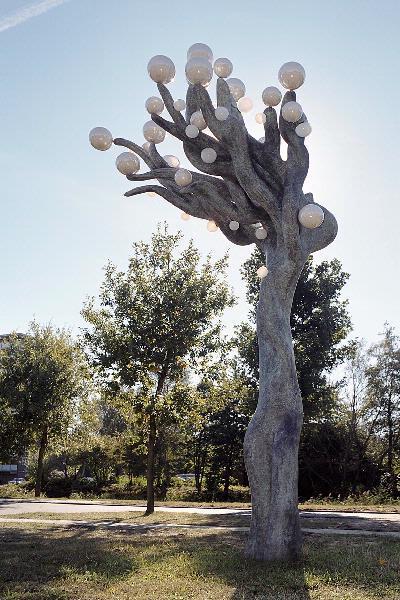 Tussen de bomen aan de Laan van Zevenhuizen staat een opvallend exemplaar. Een bronzen stam met een grillige kruin van kronkelende takken. Maar het meest in het oog springend zijn de talloze glanzende ballen, groot en klein die van de kruin een kroon maken, bezet met parels. Met deze Parelboom, zoals dit werk van Louise Schouwenberg heet, verwijst de kunstenaar direct naar de Parelvissersstraat, die in het verlengde van de boom ligt, en naar de achtergelegen flat De Parel. Maar er is meer dan alleen de opera van George Bizet. De straten van de naastgelegen wijk, waar de takken naartoe nijgen, dragen namen van filosofen. Een boom staat in de filosofie vaak symbool voor het streven naar waarheid, wijsheid en harmonie. De boom verbindt hemel en aarde, harmonie en idee. Een parel staat voor zuiverheid en volmaakte schoonheid. Haar parelmoeren glans, die overdag schittert in het zonlicht, spreekt tot de verbeelding van de diverse culturen die in de wijk naast elkaar bestaan. Zo is 'De parelboom', om met de woorden van de kunstenaar te spreken, 'een ode aan de wijk'.