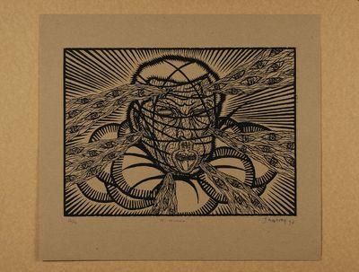 Zwarte prent op cuba bruin papier. Oplage nr. 12/12. 1990. Gesigneerd.