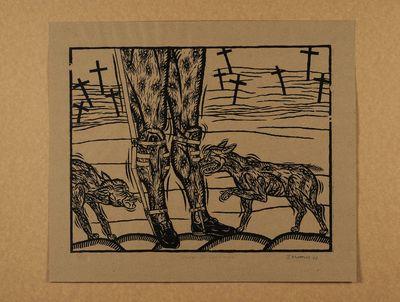 Zwarte prent op cuba bruin papier. Oplage nr. 2/15. 1990. Gesigneerd.