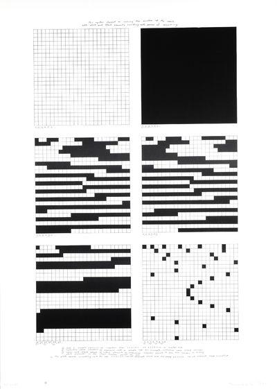 6 vierkanten met rasterverdeling die volgens een beschreven methode opgevuld zijn met zwart. 59/100 1980. Gesigneerd (naam is moeilijk te ontcijferen)