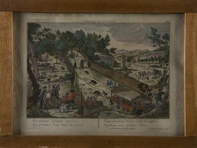 Gravure varkensjacht, op papier, ingekleurd, waarop de jacht is afgebeeld in een weids landschap