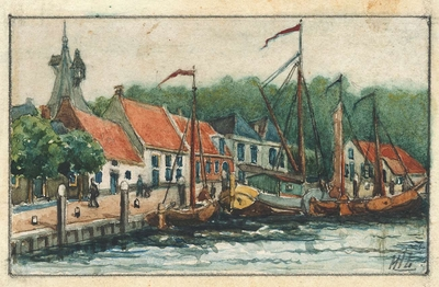Aquarel op papier met haven te Elburg, met huizen aan de kade, schepen en de Vischpoort op de achtergrond