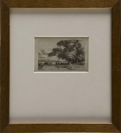 Prent op papier met voorstelling van het Uddelermeer met twee figuren aan de waterkant en hoge bomen op de achtergrond, vervaardiger J. J. van der Maaten