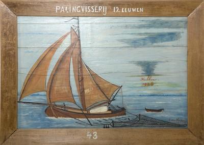 Schilderij op paneel met voorstelling van een botter, het kuilnet is duidelijk zichtbaar, in de achtergrond een sloepje