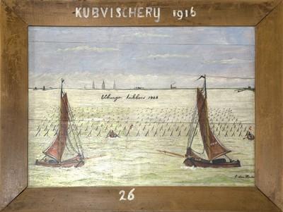 Schilderij op paneel met voorstelling van de kubbevisserij