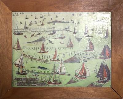 Schilderij op paneel met voorstelling van de vismethoden op de Zuiderzee