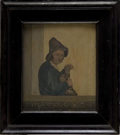 Olieverfschilderij op paneel waarop een man ten halve lijve met hoed staat afgebeeld met een hond in de armen