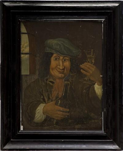 Schilderij op paneel met voorstelling van een man ten halve lijve die de beschouwer aankijkt, met de fles in de rechterhand en het glas in de geheven linkerhand