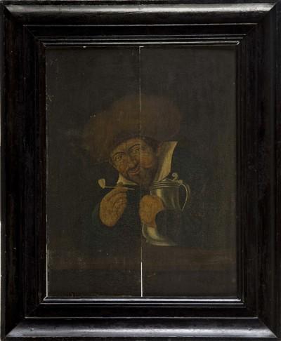 Schilderij op paneel met voorstelling van een man met een stenen pijp in de linkerhand en tinnen kan op de voorgrond