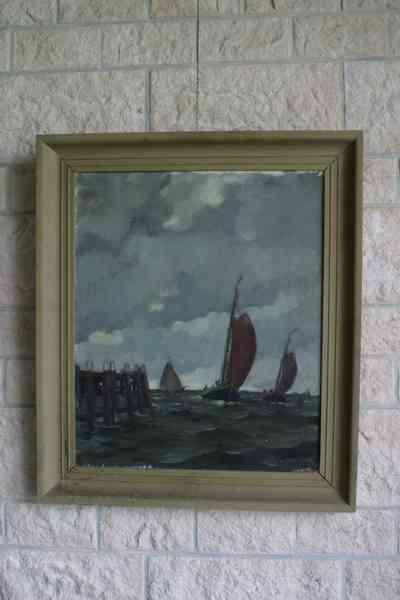 Olieverfschilderij op doek met voorstelling van drie botters die de haven naderen