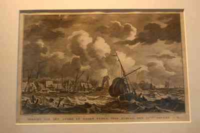 Diepdruk op papier, zwart-wit druk, met voorstelling van de storm bij Elburg 1776, vervaardiger J. N. van de Neer