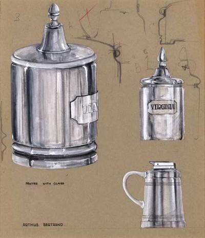 Ontwerptekening van 2 cilindervormige tabakspotten met een deksel met knop, 1 exemplaar met voetring en twee randen onderaan, een plaatje met tabak en het andere exemplaar zonder voetring en randen met een plaatje virginia.