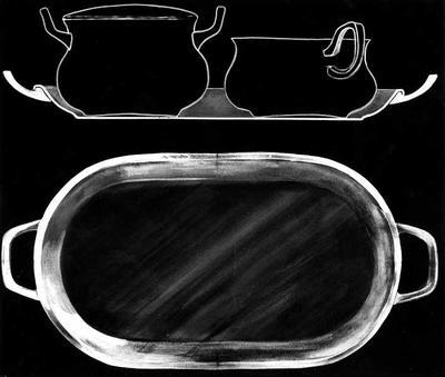 Ontwerptekening van een roomstel; boven een doorsnee van het roomstel op een dienblaaadje; onder de tekening van het dienblaadje met 2 oren.