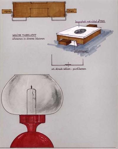 Ontwerptekening van het zij-aanzicht van een bruin, vierkant waxine theelicht met 2 vierkante handgreepjes; daaronder hetzelfde theelicht van boven gezien; onderaan een rood windlicht, waarvan de voet in de vorm van een halve bol, waarop een houder voor een bol glas, waarin een kaars geplaatst wordt.