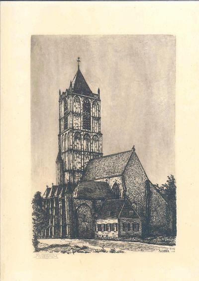 Ets met afbeelding van de achterzijde met consistoriekamer van de St.Maartenskerk te Tiel. De prent is achter glas ingelijst in een smalle gebroken-witte houten lijst.