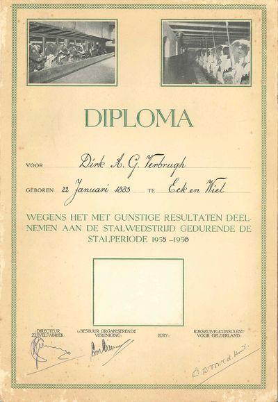 Diploma voor Dirk A. Verbrugh wegens het met gunstige resultaten deelnemen aan de stalwedstrijd gedurende de stalperiode 1955-1956. Bovenaan het diploma zijn twee foto's van een koeienstal te zien.