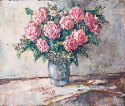Olieverf schilderij met een vaas van Keuls aardewerk, gevuld met roze rozen en pluimvormige bloemen. Piet Mulder werkte bij de Nederlandse Spoorwegen en kreeg bij zijn afscheid dit boeket bloemen, dat hij heeft geschilderd.