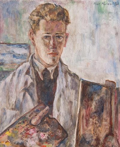 Olieverf schilderij van een jonge man in een stofjas achter een schildersezel met een palet in zijn rechterhand.