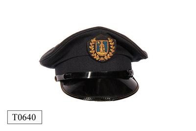 Blauw/grijs wollen pet met zwart kunststof klep.