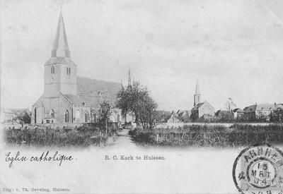Stadsbeeld met RK kerk en NH kerken en de achterzijden van de woonhuizen aan de Langestraatin 1914.