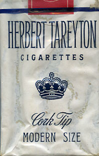Wit pakje sigaretten van het merk Herbert Tareyton. Het zijn cork tip modern size.