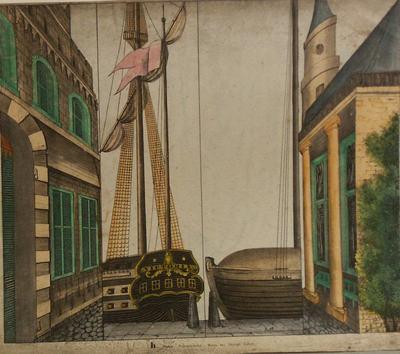 Vierslag met links en rechts twee perspectivische delen van gebouwen. In het midden twee delen met details van schepen.
