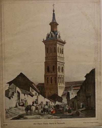 Hoge toren in drie verdiepingen, bekroond door een achtkantige spits. Achter de toren het kerkgebouw. Links en rechts andere gebouwen, sommige in ruineuze staat. Gestoffeerd met kar, paarden, mensen.