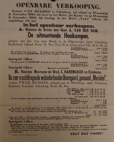Affiche met tekst voor de verkoop van de Hooikampen in de Slijpsteentjes aan de weg naar Beesd en de boomgaard de Mariahof aan de Breedsteeg te Culemborg