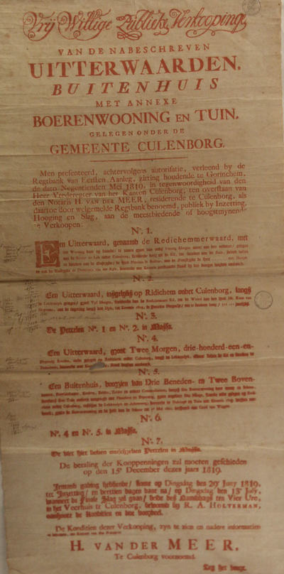Affiche met in rood gebrukte tekst betreffende verkoop van uiterwaarden, buitenhuis met annexe boerenwoning en tuin te Culemborg: Redichemmerwaard, buitenhuis op Redichem etc. Gezegeld.