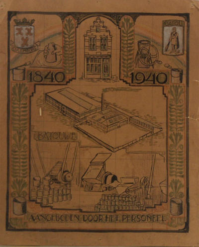 ontwerp voor het tegetableau met links boven het wapen van Culemborg, rechtsboven een Batavier met knots en tekst ´Batol´; centraal een gezicht op het fabriekscomplex en scènes uit de verfbereiding