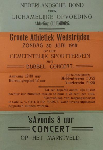 Affiche in groen, oranje, groen. Grote atletiekwedstrijden, dubbeconcert op de markt op 30 juni 1918.