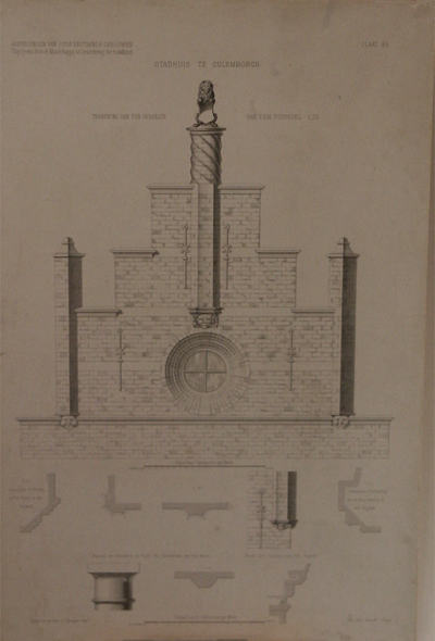 Technische tekening van de topgevel van het stadhuis te Culemborg. Met details. Schaalverdeling