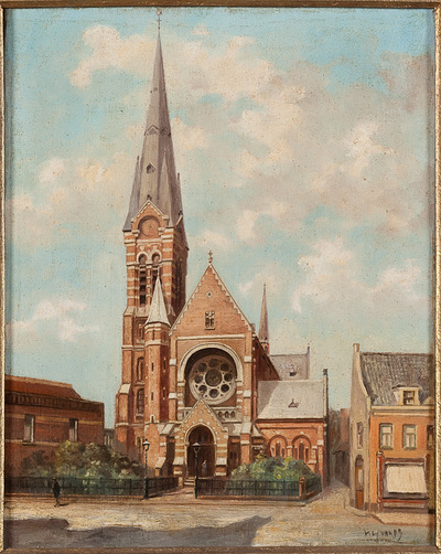 Gezicht op de Barbarakerk en toren vanaf de Markt. Links en rechts belendende huizen. Gestoffeerd met twee figuren. In een bewerkte, vergulde lijst.