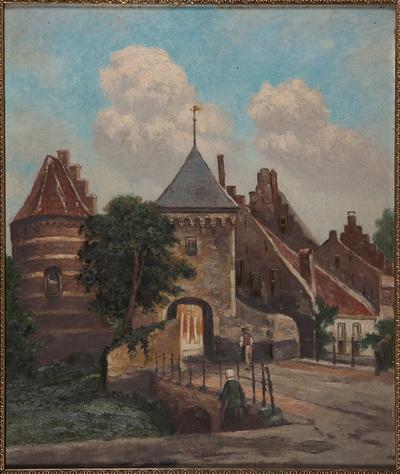 De Slotpoort, gezien vanaf het Voorburg. Links een muurtoren. Naar een zelfde voortstelling van Cornelis Springer