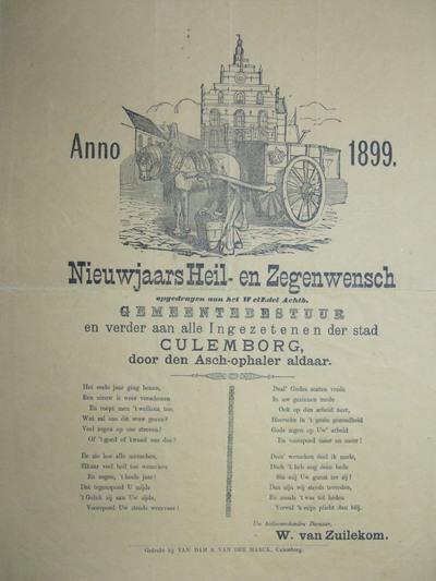 Voor het stadhuis van Culemborg staat een paard en wagen. Daarvoor de karreman die een houten doos beetpakt. Hieronder de opdracht aan het gemeentebestuur en ingezetenen van Culemborg. Vier rijmverzen in twee kolommen.