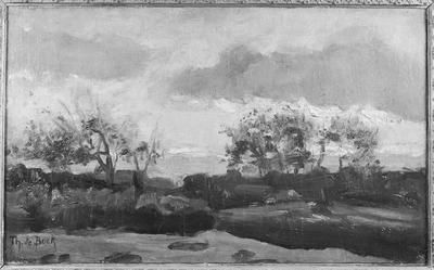 Schilderij met als voorstelling een landschap met zonsondergang.