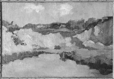 Schilderij met als voorstelling een zandafgraving.