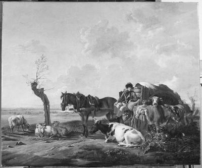 Schilderij met als voorstelling een boer met kar en paard in een landschap.