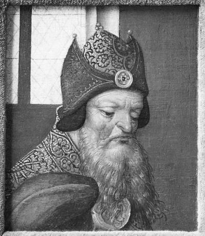 Schilderij met het portret van een kerkvader.