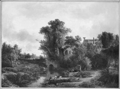 Schilderij met als voorstelling een landschap met ruïne.