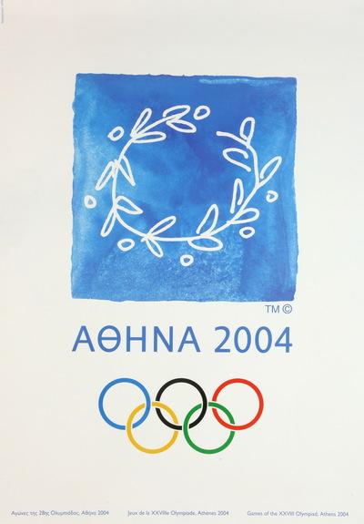 De officiële poster van de Olympische Zomerspelen 2004 Athene. In het midden staat het logo van de Olympische Zomerspelen 2004 Athene. Het logo is een krans gemaakt van een olijfboomtak of kotinos. Het logo refereert naar de Olympische Spelen in de oudheid waar de kotinos een officiële prijs was voor een Olympische kampioen. Bovendien was de olijfboom de heilige boom van Athene. De kleuren in het logo symboliseren de verschillende tonen van wit en blauw die in het Griekse landschap aanwezig zijn. Onder het logo staat in het Grieks de inscriptie 'ATHENE 2004' met daaronder de Olympische Ringen. Achter het embleem zijn acht vakken in verschillende kleuren (blauw, grijs, oranje, paars).
