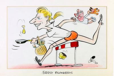 Een karikatuur van Fnny Blankers, gemaakt door Dik Bruynesteyn. Fanny Blankers springt over een horde heen terwijl ze in haar linkerhand een pan vasthoudt en een pannenkoek omflipt. Om haar arm hangt een boodschappentas waar een wit brood uitvalt. In de rechterhand houdt ze een klein kind vast dat achter haar aan bengelt door de lucht. Het kindje houdt weer een knuffel vast. Fanny Koen trouwde dat jaar – 1940 – met haar trainer Jan Blankers en in 1941 werd zij voor het eerst moeder. In 1946 kreeg zij haar tweede kind, leek haar loopbaan voorbij. Dat vrouwen aan atletiek deden was inmiddels geaccepteerd, maar een moeder van twee kinderen die topprestaties levert, dat leek uitgesloten. Toch begon Blankers-Koen twee maanden later alweer te trainen en won datzelfde jaar nog vijf nationale en twee Europese titels: de bijnaam 'de vliegende huisvrouw' was geboren. In de rechter onderhoek heeft Dik Bruynesteyn de tekening gesigneerd 'dik / 50'. De tekening zit in een witte passé partout waarop onderaan staat geschreven met zwarte stift 'FANNY BLANKERS'. Francina Elsje (Fanny) Blankers-Koen (Lage Vuursche, 26 april 1918 – Hoofddorp, 25 januari 2004) was een Nederlandse atlete. In 1948 won ze tijdens de Olympische Spelen in Londen vier gouden medailles.