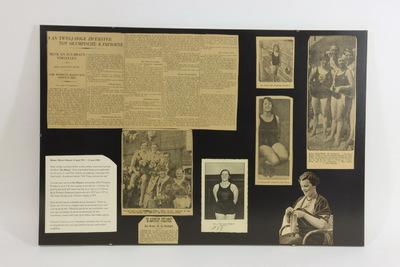 Een verzameling ingelijste krantenartikelen over Zus Braun. Het bovenste artikel in de linker hoek heeft de titel 'VAN TWEEJARIGE ZWEMSTER / TOT OLYMPISCHE KAMPIOENE. / MEVR. EN ZUS BRAUN VERTELLEN.'. In de linker onderhoek staat een kleine getypte biografie van Marie Braun 'Braun, Maria Johanna…carrière deed terugkijken'. Naast deze twee artikelen staan er zes zwart/wit foto's. Marie Braun (Rotterdam, 22 juni 1911 - Gouda, 23 juni 1982) was een Nederlands zwemster. Het grootste succes behaalde Braun in Amsterdam bij de Olympische Zomerspelen 1928. Tijdens de halve finale van de 100 meter rugslag zwom ze een nieuw wereldrecord en de finale, op 11 augustus, wist zij ook te winnen, in een tijd van 1:22,0. Daarmee werd Marie Braun de eerste Nederlandse Olympische zwemkampioen. Zij was een dochter van de bekende zwemtrainster Ma Braun. Marie, ook wel Zus Braun.
