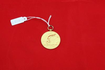 Een goudkleurige medaille met een relief van een schoonspringer op de voorzijde. Hij heeft zijn handen met gestrekte armen boven zijn hoofd bij elkaar gehouden en zijn voeten in de lucht. Op de achterzijde staat de inscriptie '1ePr. / SCHOONSPR. D. / 23-5-'42 / A / N.'.