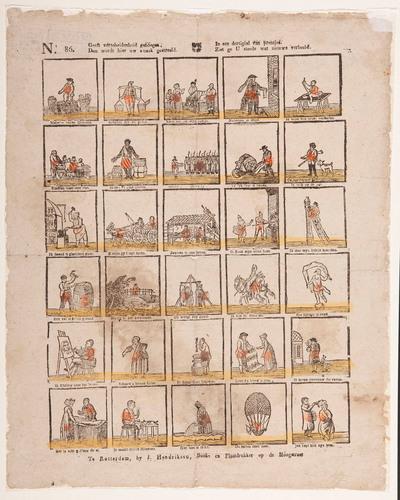 Bovenaan de prent staat de tekst: 'Geeft verscheidenheid genoegen, dan wordt hier uw smaak gestreeld. In een dertigtal van prentjes, ziet ge U steeds wat nieuws verbeeld.' Eronder staan dertig plaatjes met elk een kort onderschrift. Eén van de tekeningen stelt Sint Nicolaas te paard voor. Onder deze afbeelding staat de tekst: 'Ik ben St-Nicolaas'.