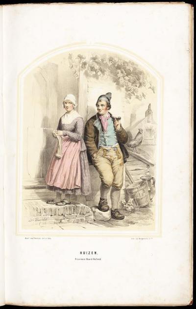 Man en vrouw in Huizer dracht, 1854