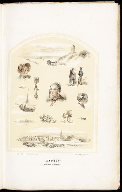 Diverse afbeeldingen van Zandvoortse dracht en het landschap